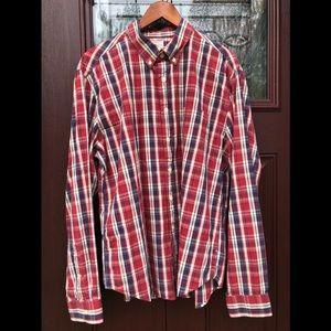 J Crew Plaid Sunwashed Oxford Mens Cotton Shirt XL
